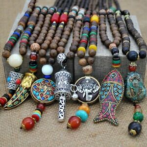 Handmade-Nepal-Buddhist-Mala-Bead-Pendant-Necklace-Ethnic-Horn-Fish-Long-Jewelry