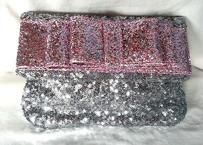 Deux Lux Handbag-Sequined Bow Clutch Bag Mist/Silver, Gunmetal/Pink NWT-RP: $95