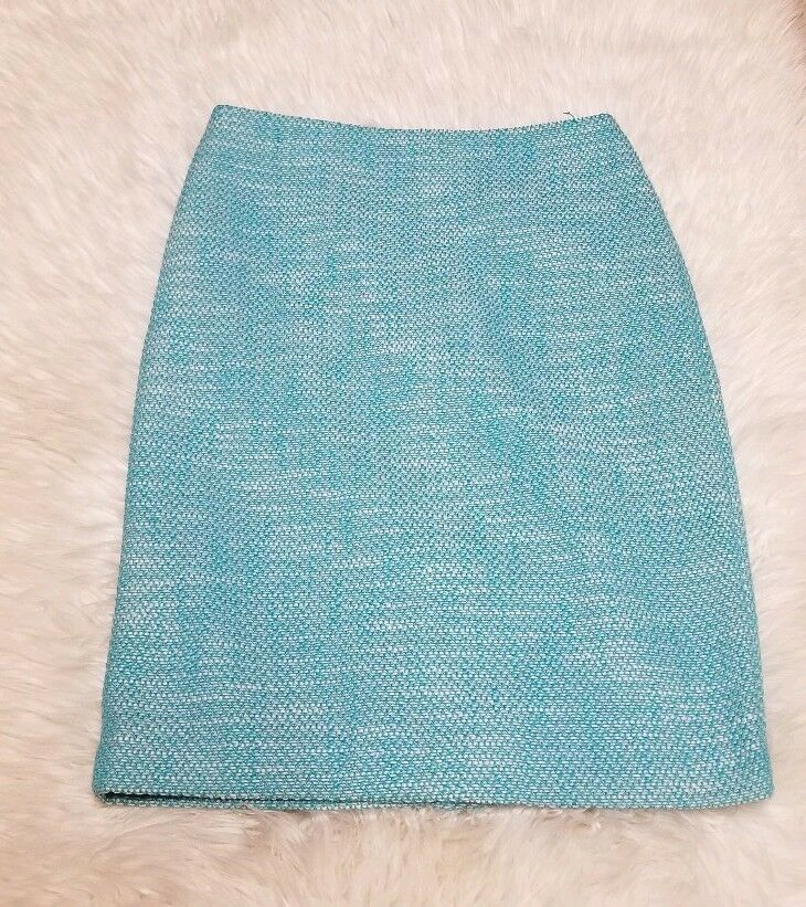 TALBOTS LADIES TURQUOISE & WHITE TWEED SKIRT NEW WITH TAGS sz 4