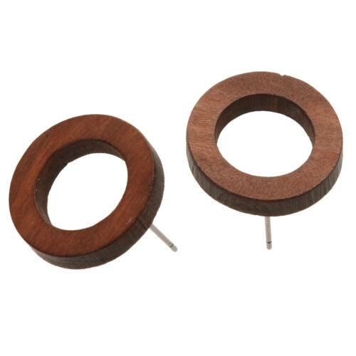 2 Paare Boho einfache runde Kreis Holz geometrische Ohrringe Holz Ohrstecker