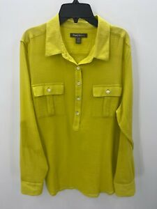 Tommy Bahama Womens Green Long Sleeve Button Up Shirt Cotton Gauze