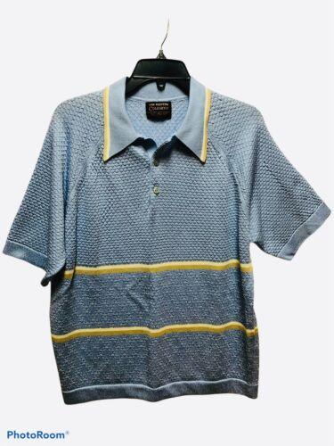 Vintage 70s Hampshire House Ban Heusen Brown Green Stripe Pattern Shirt Medium