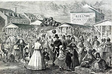 Taylor FRENCH MARKET New Orleans CAJUNS Sunday Morning 1867 Matted Print w STORY
