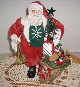 Vintage-Paper-Mache-Santa-with-bag-of-toys-tree-and-horn-11-034-tall