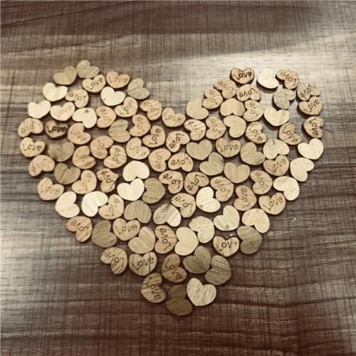 Mini Wooden Love Heart Shape Wedding Table Scatter Craft DIY Decor Supply XU