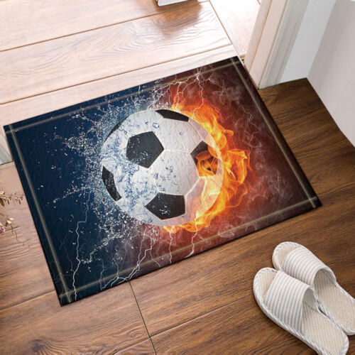 Sports Decor Soccer Ball on Fire Water Flame Bath Rugs Non-Slip Floor Door Mat