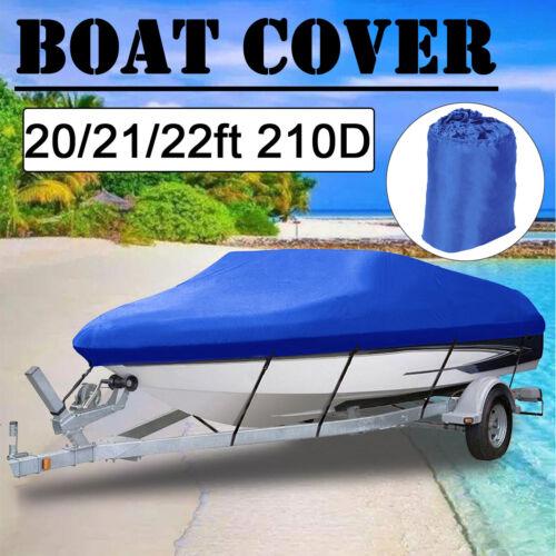 Heavy Duty Waterproof Boat Cover V-Hull Fishing Ski Bass 11ft-22ft Oxford Blue