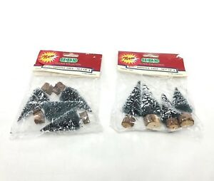 """Lemax Village Collection ~ 2 Sets of 4 ~ Bristle Trees 2-1/2"""" 1992 ~ Total of 8"""