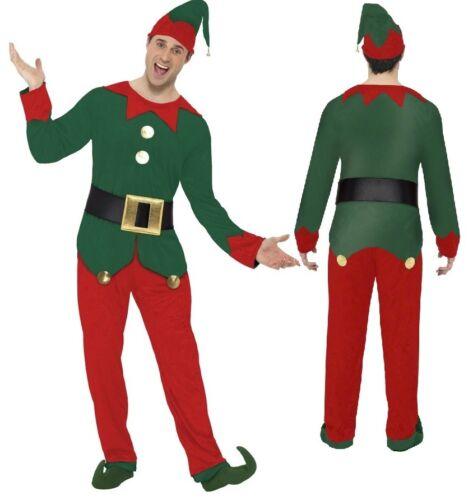 Mens Helper Elf Christmas Xmas Festive Fancy Dress Costume Outfit M L XL