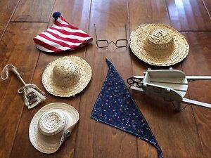 bear accessories for stuffed Bears ,straw hats,glasses,wheel barrow,bandana,hat