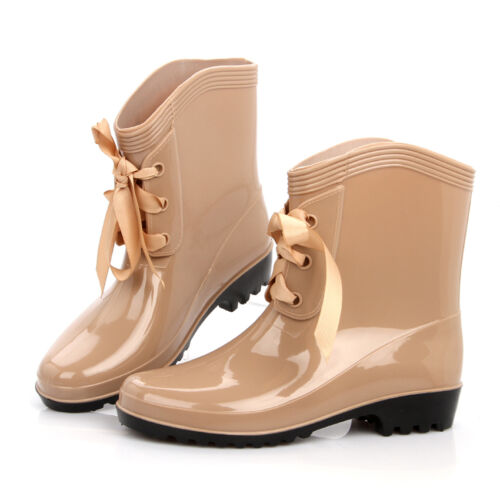 Beautiful Ankle Boots women/'s rain boots high quality Lace up rainboots US5-US9