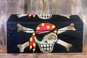 Hand-Carved-Wooden-Pirate-Skull-amp-Bones-Wooden-Chest-3-Sizes