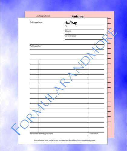 2 Stück Auftragsblock A6,SD 2x50 Bl,Auftragsbuch,Auftrag,selbstdurchschreibend