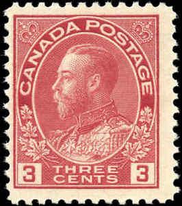 Mint-NH-1923-Canada-F-3c-Scott-109-King-George-V-Admiral-Stamp
