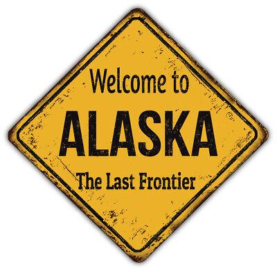 "/'/'SIZES/"" Alaska USA Map State Grunge Badge Car Bumper Sticker Decal"