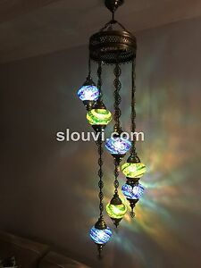 7 ball globe turkish mosaic chandelier 6 different designs ebay image is loading 7 ball globe turkish mosaic chandelier 6 different aloadofball Images