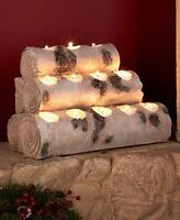 Birch Wood Look Tea Light Candle Holders Log Fireplace Rustic Primitive Lodge