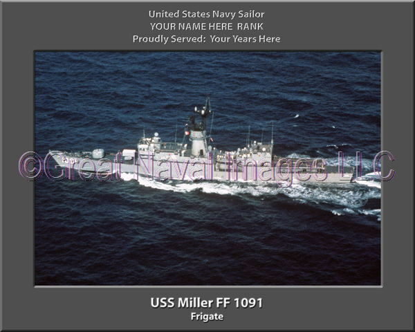 USS Miller FF 1091 Personalized Canvas Ship Photo Print Navy Veteran Gift