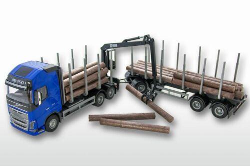 6x4 mit 4achs Anhänge EMEK 71304 Volvo FH04 GL 6x4 Holzhängerzug 1:25 blaues FH