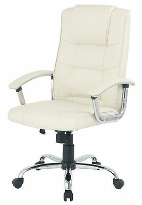 Berlin Business Leather faced Executive Swivel Computer office Chair in cream