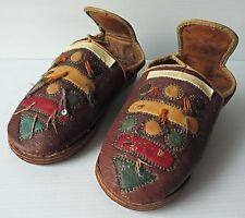 Antique LEATHER TRIBAL SHOES, Child Size