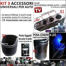 KIT 3 ACCESSORI AUTO PORTA CENERE OGGETTI MULTIPRESA USB PER Fiat 500
