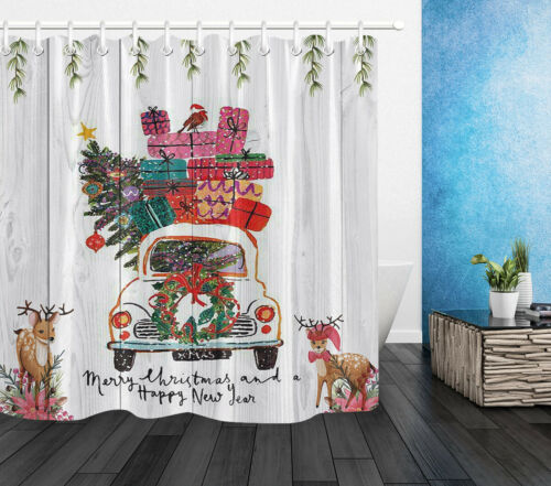 Merry Christmas Shower Curtain Watercolor Xmas Car Wreath Rustic Wood Bath Mat