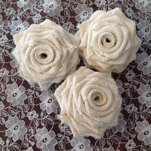 Hessian /& Lace Roses Handmade Vintage Shabby Chic Rustic Weddings Flowers