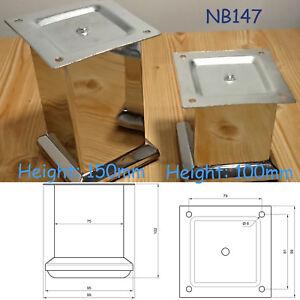 1-x-Chrome-Poli-Acier-meuble-pieds-PIEDS-Divan-Plinthe-placard-placards-NB147