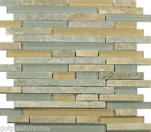 Image is loading Sample-Beige-Green-Natural-Stone-Glass-Mosaic-Tile-