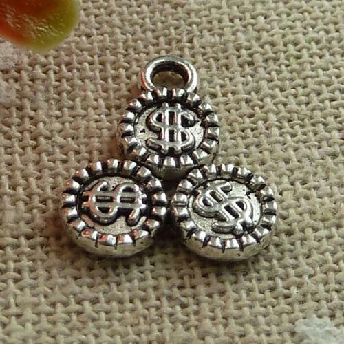 Free Ship 170 pcs tibetan silver dollar charms 16x13mm L-1437