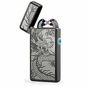 USB-Electric-Dual-Arc-Flameless-Torch-Rechargeable-Windproof-Lighter-Dragon