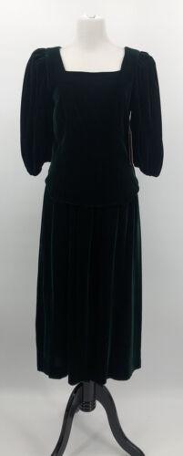 Vintage LEVANTE Green Velvet Shirt Skirt Set Blous