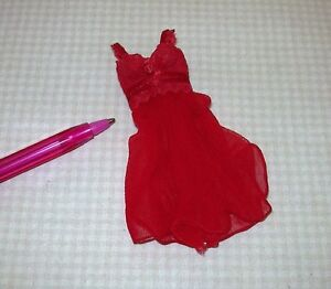 Flouncy-Short-Nightgown-w-Lace-Bodice-RED-DOLLHOUSE-Miniatures-1-12-Scale