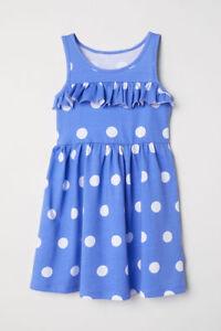 eafca8563730 H M Girls Blue White Polka Spot Cotton Dress Age 4 5 6 8 9 10 Years ...