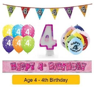 Image Is Loading Happy 4th Birthday AGE 4 Party Balloons Banners