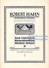 Likörfabrik Hahn Waldenburg Walbrzych Reklame von 1923 Kelterei Niederschlesien