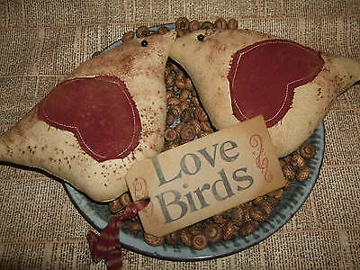 Primitive LOVE BIRDS Spring Valentine Birdies PAIR (2) Bowl Filler Ornies