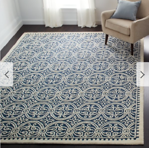 Safavieh Hand Made Navy Ivory Wool Area Rug 6 X 9 Living Dining
