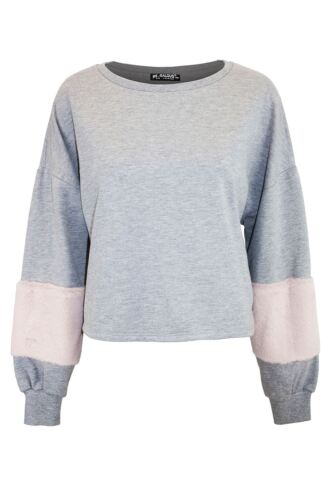 Ladies Womens Printed Oversize Loose Fit Batwing Sweatshirt Faux Fur Cropped Top