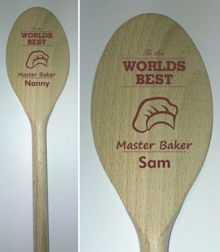 Personalised Master Baker wooden Spoon mum dad nanny friend baker cook chef gift
