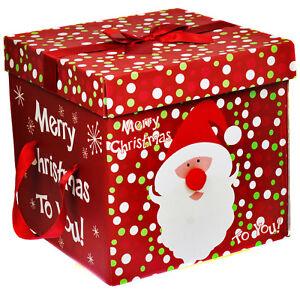 PREMIO-di-grandi-dimensioni-Vigilia-di-Natale-Scatola-Regalo-Coperchio-amp-Nastro-MANIGLIE-Natale