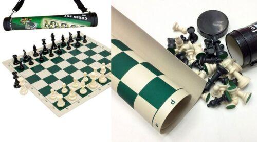 Jeu d/'échecs jeu neuf version voyage en tube plateau en plastique souple