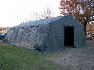 Image is loading MILITARY-TENT-BASE-X-307-GREEN-EASY-UP- & MILITARY TENT BASE- X 307 GREEN EASY UP 18u0027 x 35u0027 SURPLUS GARAGE ...