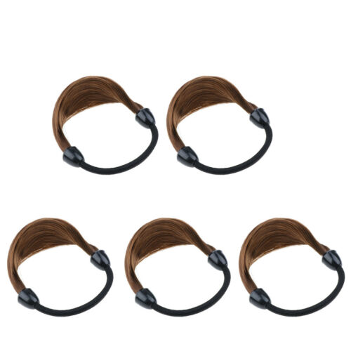 5pcs Women Girls Synthetic Hair Band Ties Elastic Rope Ring Ponytail Holders