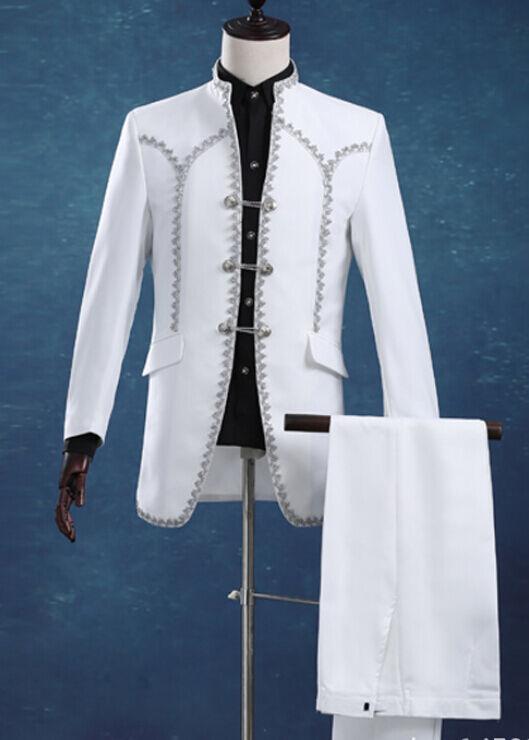 2 pcs Men Stage Tuxedo Bridegroom Wedding Court Blazer Business Suit Party White