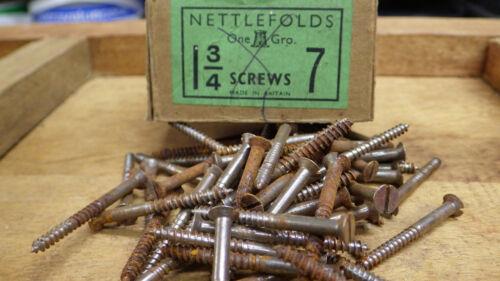 """50 x nettlefolds 1 3//4/"""" x 7 en acier à tête fraisée fendu tête vis à bois nos vis"""