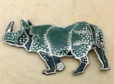 Sterling Silver Rhinoceros Brooch