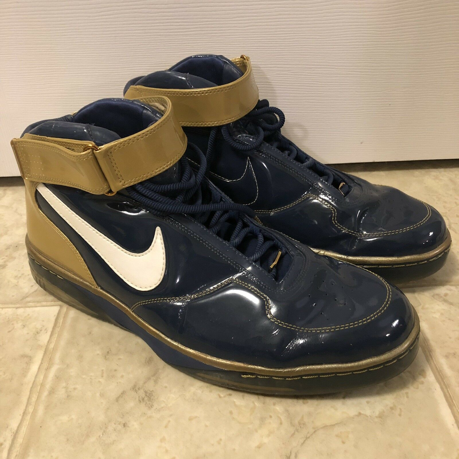 NIKE Air Force 25 BE TRUE To Your School Basketball Sneakers bluee gold sz 17