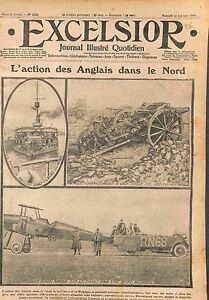 "Monitor Royal Navy Aircraft armored car Bataille d'Ypres WWI 1915 - France - Commentaires du vendeur : ""OCCASION ATTENTION,QUE LA COUVERTURE, PAS LE JOURNAL ENTIER. Just the cover, not newspaper."" - France"